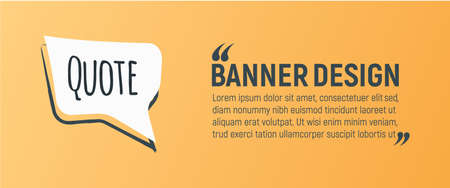 Quote Blank Banner. Icon and Label on Orange Background in Box. Template for Note, Message, Comment and Web. Simple Vector Illustration. Reklamní fotografie - 132403585
