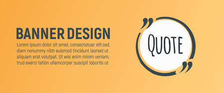 Quote Blank Banner. Icon and Label on Orange Background in Box. Template for Note, Message, Comment and Web. Simple Vector Illustration.