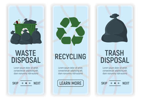 Waste, Trash Disposal and Recycling. Web Banner for Web and Smartphone. Icon and Label on Background in Box. Template for Note, Message and Web. Simple and Cartoon Vector Illustration. Ilustração