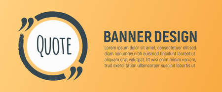 Quote Blank Banner. Icon and Label on Orange Background in Box. Template for Note, Message, Comment and Web. Simple Vector Illustration. Reklamní fotografie - 132403609