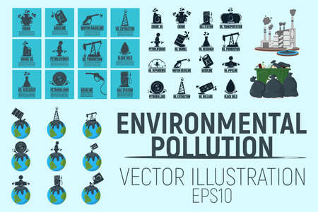 Environmental Pollution Concept Icon and Label. Earth and Water Pollution Logo. Technogenic Catastrophe Symbol, Icon and Badge. Cartoon Vector illustration.