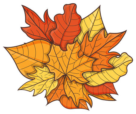 Leaf Concept Icon. Leaf Fall Background. Autumn Symbol, Icon and Badge. Cartoon Vector illustration.