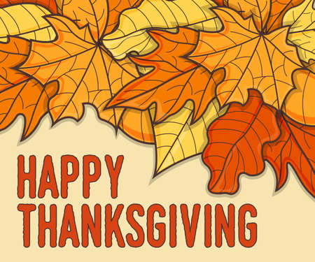 Happy Thanksgiving Banner Concept. Leaf Fall Background. Autumn Symbol, Icon and Badge. Cartoon Vector illustration.