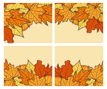 Set of Leaf Concept Banner. Leaf Fall Background. Autumn Symbol, Icon and Badge. Cartoon Vector illustration.