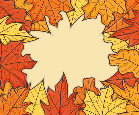 Leaf Concept Banner. Leaf Fall Background. Autumn Symbol, Icon and Badge. Cartoon Vector illustration.