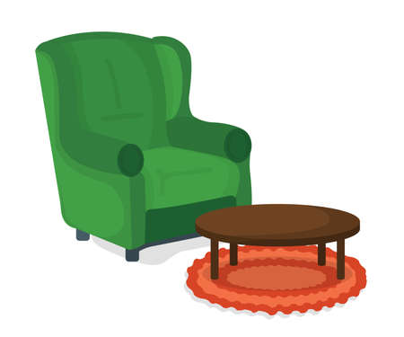 Armchair and Table Icon Concept. Furniture on White Background. Chair Symbol, Icon and Badge. Cartoon Vector illustration. Vector Illustratie