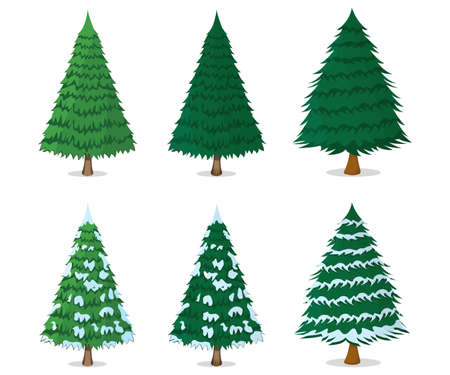 Set of Christmas Tree Icon Concept. Xmas Tree on White Background. New Year Symbol, Icon and Badge. Cartoon Vector illustration.