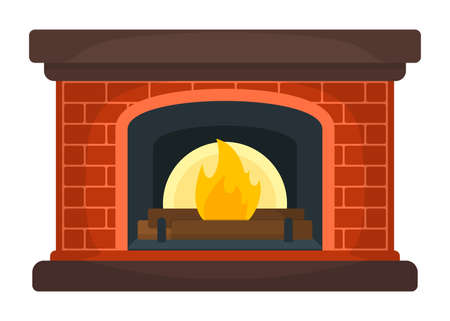 Fireplace Icon Concept. Fireside on White Background. Furniture Symbol, Icon and Badge. Vector Illustratie