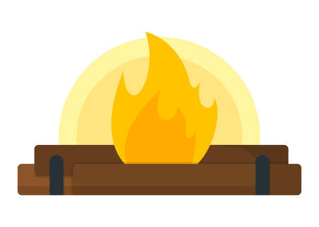 Campfire, bonfire icon. Open Fire on White Background. Tourism Web Icon, Banner, Symbol. Cartoon Vector illustration.