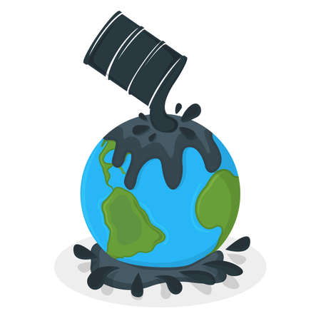 Earth Oil Pollution Concept Icon and Label. Earth Pollution by Petroleum. Catastrophe Symbol, Icon and Badge. Cartoon Vector illustration.