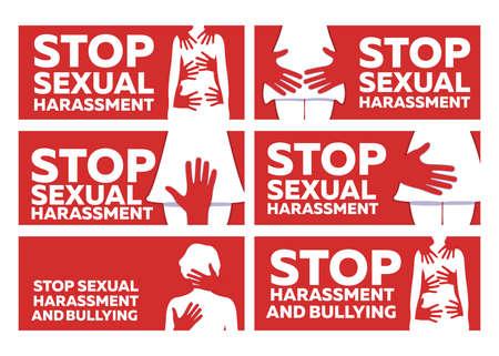 Fermare le molestie sessuali e il bullismo Banner su sfondo rosso.