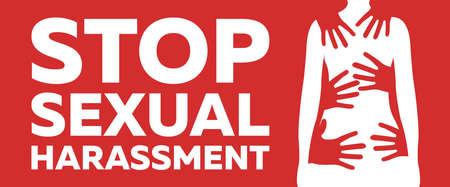 Stop Sexual Harassment and Bulling Banner on Red Background. Gender equality Label and Logo. Toxic Relationship. Concept Vector Illustration.