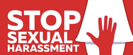 Detener el acoso sexual y la intimidación Banner sobre fondo rojo. Ilustración de vector