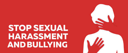 Stop Sexual Harassment and Bulling Banner on Red Background.