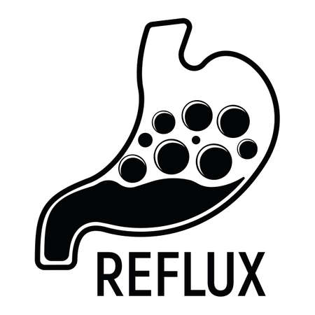 Reflux Stomach Concept Icon and Label. Health Research Symbol, Icon and Badge. Simple Black Vector illustration.