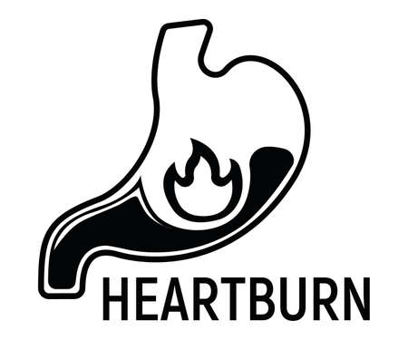 Heartburn Stomach Concept Icon and Label. Health Research Symbol, Icon and Badge. Simple Black Vector illustration.