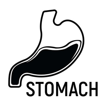 Stomach Concept Icon and Label. Health Research Symbol, Icon and Badge. Simple Black Vector illustration.