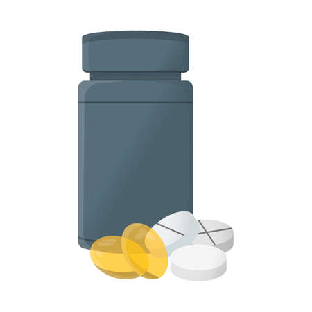 Pill and Dragee Concept Icon and Label. Health Research Symbol, Icon and Badge. Cartoon Vector illustration.