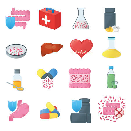 Set of Gastrointestinal Tract and Medical Health. Concept Icon and Label. Health Research Symbol, Icon and Badge. Cartoon Vector illustration. Ilustracja