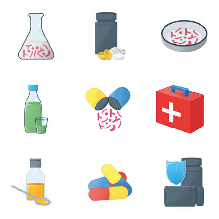 Medical Health. Concept Icon and Label. Health Research Symbol, Icon and Badge. Cartoon Vector illustration.