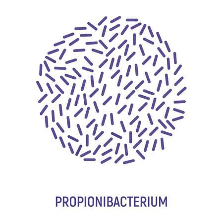 Propionibacterium Icon. Probiotic Concept and Label. Health Research Symbol, Icon and Badge. Cartoon Vector illustration.