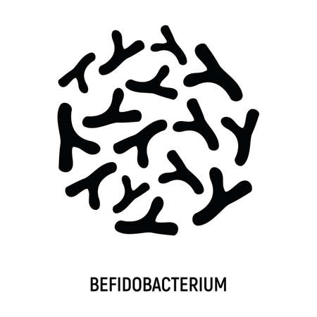 Bifidobacterium Icon. Probiotic Concept and Label. Health Research Symbol, Icon and Badge. Simple and Black Vector illustration.