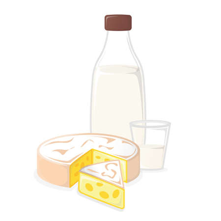 Dairy Products. Milk and Cheese. Concept Icon and Label. Natural and Healthy Food Symbol, Icon and Badge. Cartoon Vector illustration.
