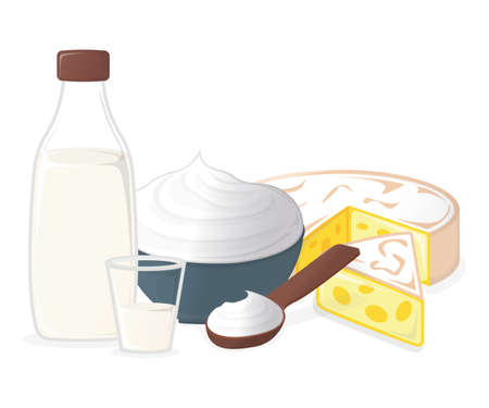 Dairy Products. Milk, Cheese and Yogurt. Concept Icon and Label. Natural and Healthy Food Symbol, Icon and Badge. Cartoon Vector illustration. 일러스트