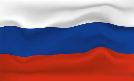 Russia Flag Icon and Logo. World National Isolated Flag Banner and Template. Realistic, 3D Vector illustration Art with Wave Effect. Ilustrace