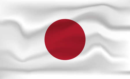 Japan Flag Icon and Logo. World National Isolated Flag Banner and Template. Realistic, 3D Vector illustration Art with Wave Effect.