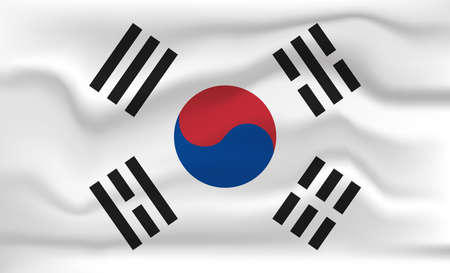 Korea Flag Icon and Logo. World National Isolated Flag Banner and Template. Realistic, 3D Vector illustration Art with Wave Effect. Ilustrace