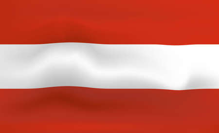 Austria Flag Icon and Logo. World National Isolated Flag Banner and Template. Realistic, 3D Vector illustration Art with Wave Effect.