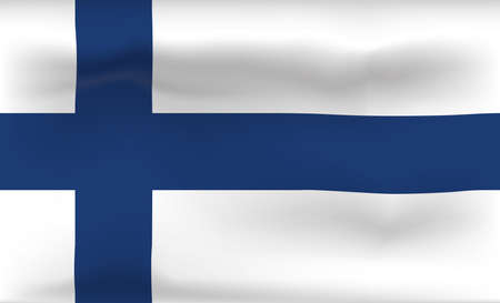 Finland Flag Icon and Logo. World National Isolated Flag Banner and Template. Realistic, 3D Vector illustration Art with Wave Effect.