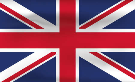 Great Britain Flag Icon and Logo. World National Isolated Flag Banner and Template. Realistic, 3D Vector illustration Art with Wave Effect. Ilustrace