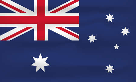 Australia Flag Icon and Logo. World National Isolated Flag Banner and Template. Realistic, 3D Vector illustration Art with Wave Effect.