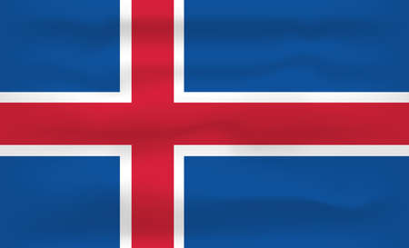 Iceland Flag Icon and Logo. World National Isolated Flag Banner and Template. Realistic, 3D Vector illustration Art with Wave Effect.