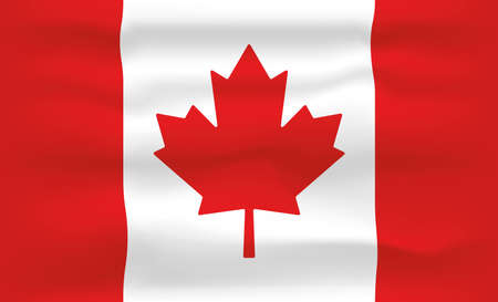 Canada Flag Icon and Logo. World National Isolated Flag Banner and Template. Realistic, 3D Vector illustration Art with Wave Effect.