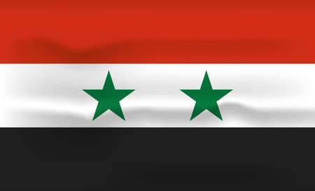 Syria Flag Icon and Logo. World National Isolated Flag Banner and Template. Realistic, 3D Vector illustration Art with Wave Effect.