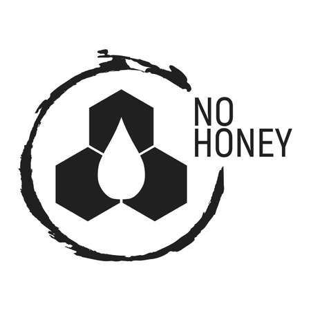 No Honey. Allergen food, GMO free products icon and logo. Intolerance and allergy food. Concept black and simple vector illustration and isolated art. Ilustracja