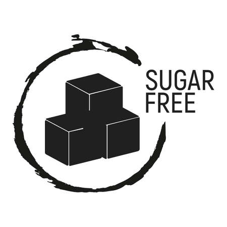 Sugar Free. Allergen food, GMO free products icon and logo. Intolerance and allergy food. Concept black and simple vector illustration and isolated art. Illustration