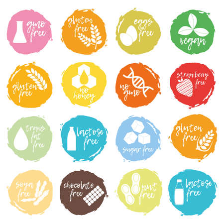 Set of allergen food, GMO free products icon and logo. Intolerance and allergy food. Concept black and simple vector illustration and isolated art.