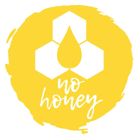 No Honey. Allergen food, bee products icon and logo. Intolerance and allergy food. Concept black and simple vector illustration and isolated art.