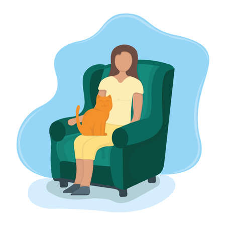 Woman sitting on armchair with cat in arms, female character rest, relax. Isolated on white, flat vector illustration. Girl sleeping on cushioned armchair, home interior.