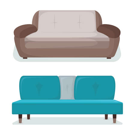 Design home sofa, modern couch, isolated on white, flat vector illustration. Furniture interior for rest, relaxation, place for sleep, bedroom area.