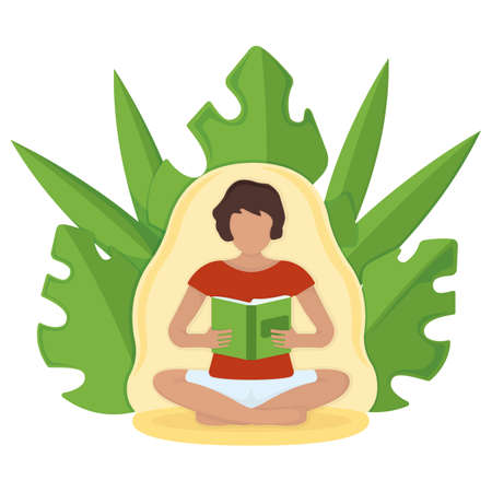 Woman character sitting kneeling and read book, textbook, journal arms leaf background, isolated on white, flat vector illustration. Relaxation after hard day, person interesting spend time volume.