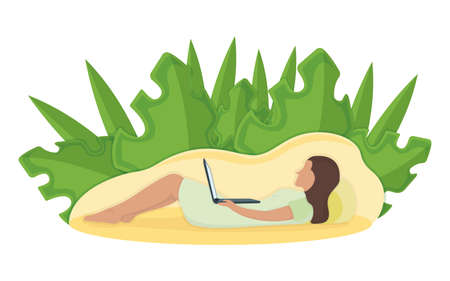 Woman lie floor with laptop in arms, leaf background, female character rest, relax. Isolated on white, flat vector illustration. Person with pillow, sleeping on floor. Relaxation after hard work day.