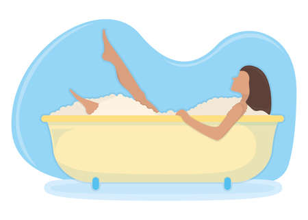 Character female lie in bathroom, washroom foam, relaxing in bath isolated on white, flat vector illustration. Stay at home, spending time at household, concept people person house rest.