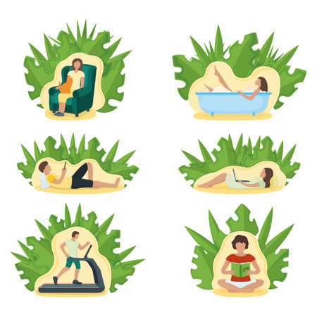 Set of people character stay home, relax house, leaf background isolated on white, flat vector illustration. Person male, female resting. Sport training, household relaxation, read book take bathroom.