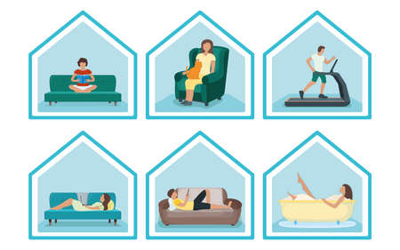 Set people character stay home, relax house, concept house roof isolated on white, flat vector illustration. Person male, female resting. Sport training, household relaxation, read book take bathroom. Vektorgrafik