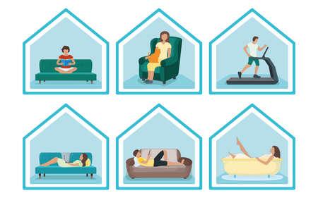 Stellen Sie die Leute ein, bleiben Sie zu Hause, entspannen Sie sich im Haus, Konzepthausdach isoliert auf weiß, flache Vektorgrafiken. Person männlich, weiblich ruhen. Sporttraining, Haushaltsentspannung, Buch lesen, Bad nehmen. Vektorgrafik